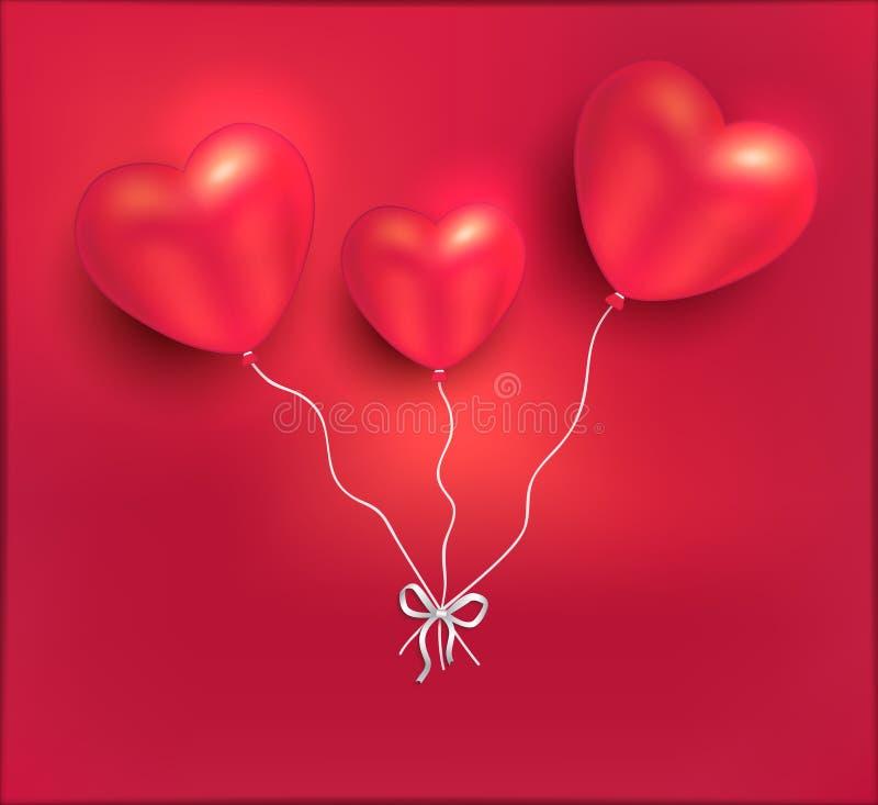 O coração balloons o amor vermelho Valentine Day feliz do cartão ilustração royalty free