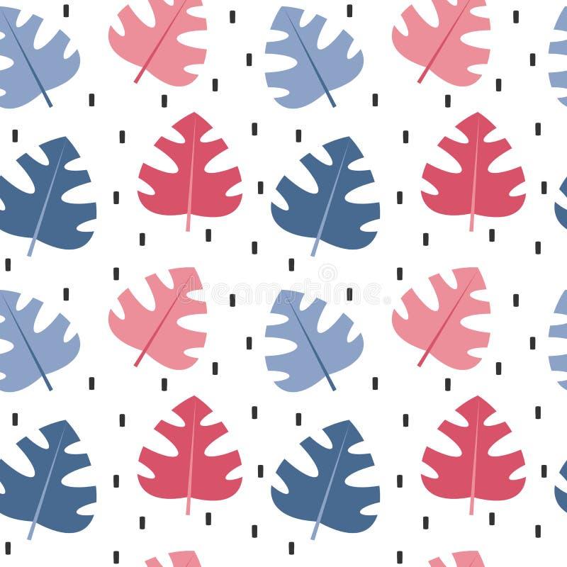 O coração bonito e o cérebro do vetor dos desenhos animados no monstera exótico azul e cor-de-rosa engraçado do illustrationcute  ilustração royalty free