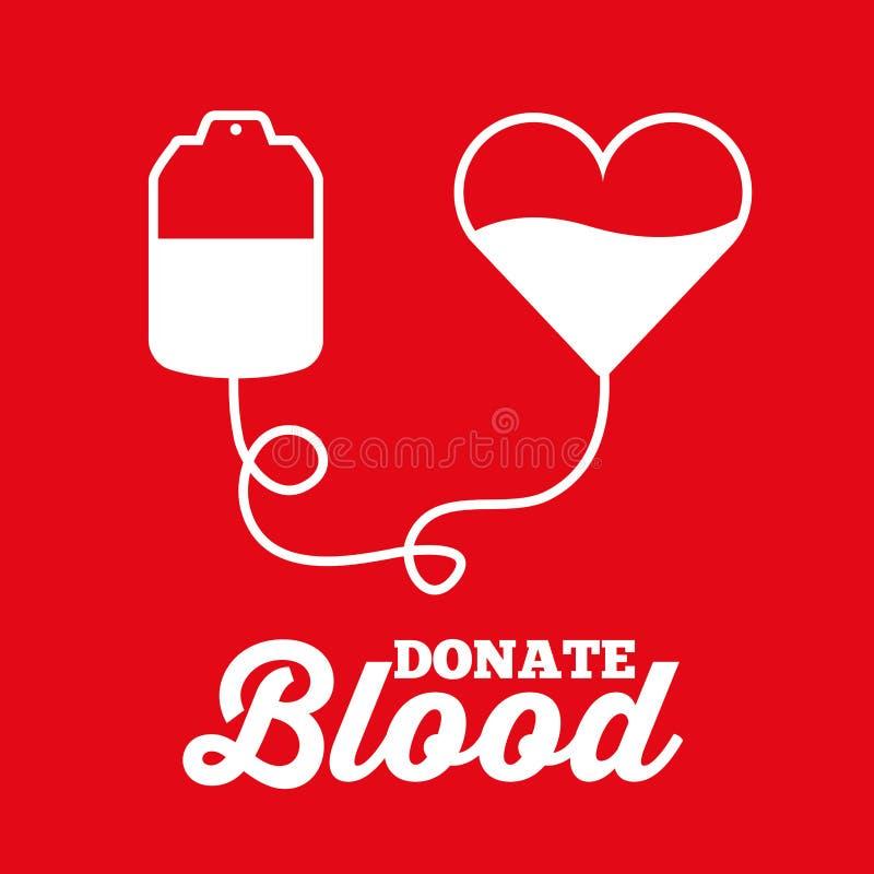 O coração branco do saco doa a transfusão de sangue médica ilustração stock