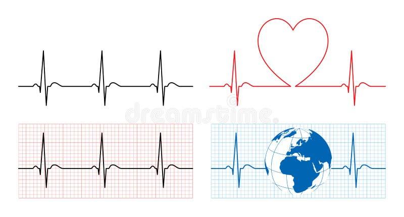 O coração com ecg e a terra com ekg alinham ilustração do vetor