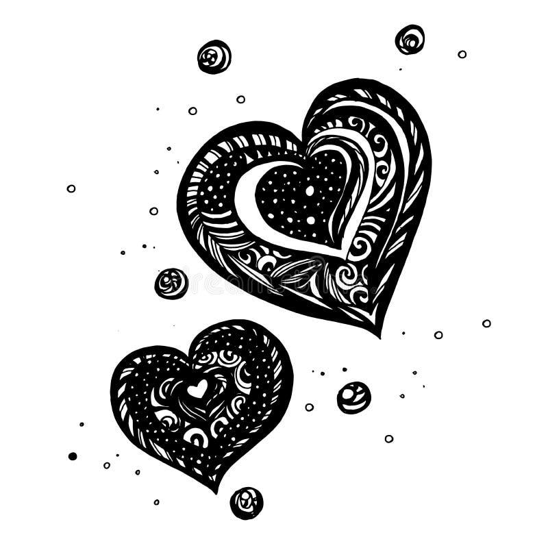 O coração com raio rabiscar-lo pode usar-se para seu projeto ilustração royalty free
