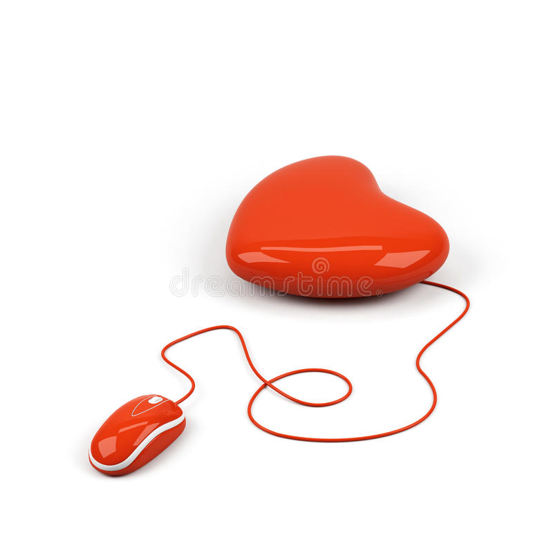 O coração conectou a um rato do computador. ilustração stock