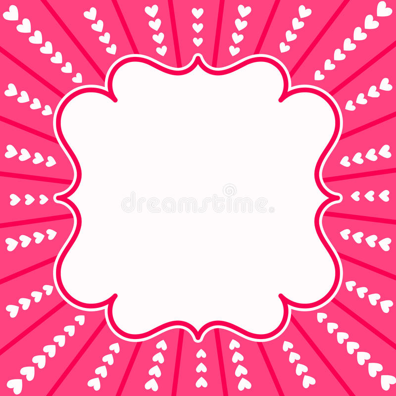 O coração cor-de-rosa irradia o cartão do dia de Valentim ilustração stock