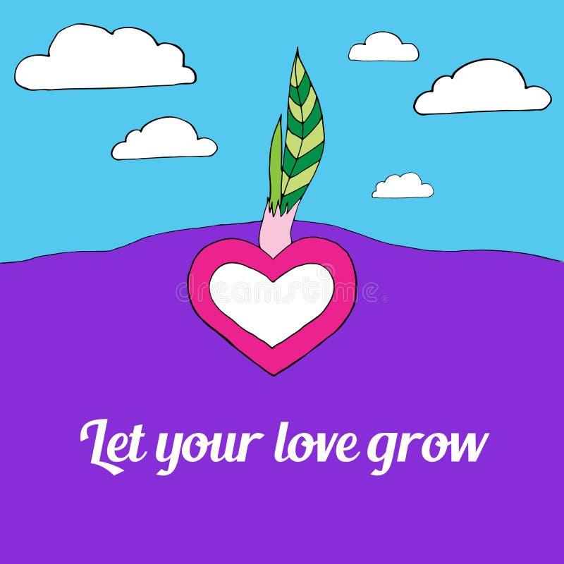 O coração cresce da terra com as duas folhas verdes, deixou seu amor crescer, céu com as nuvens brancas no fundo ilustração stock