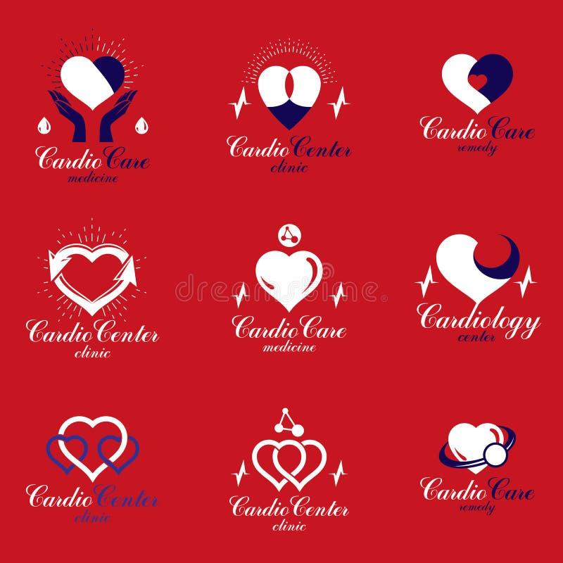 O coração dá forma composto usando cartas e o phonendosco de pulsação do ecg ilustração royalty free