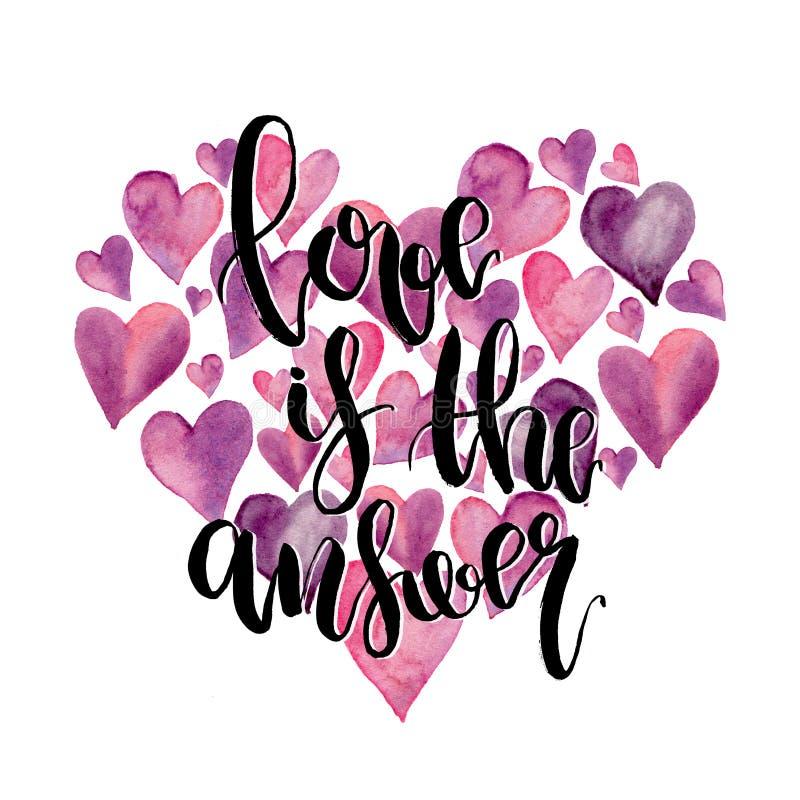 O coração da aquarela com amor é a rotulação da resposta isolada no fundo branco Ilustração com símbolo do amor ilustração royalty free