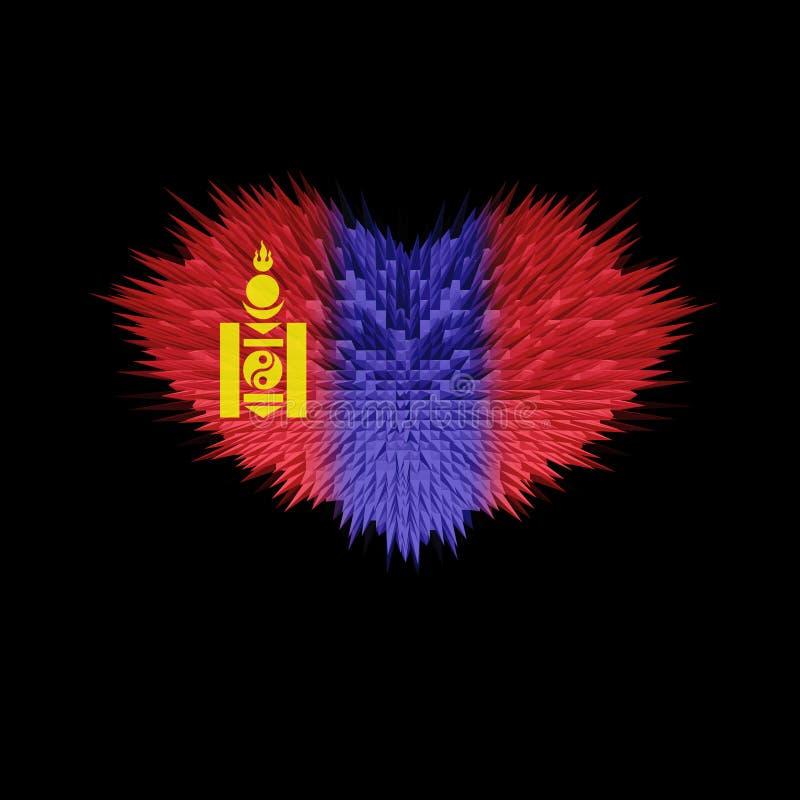 O coração da bandeira de Mongólia ilustração royalty free