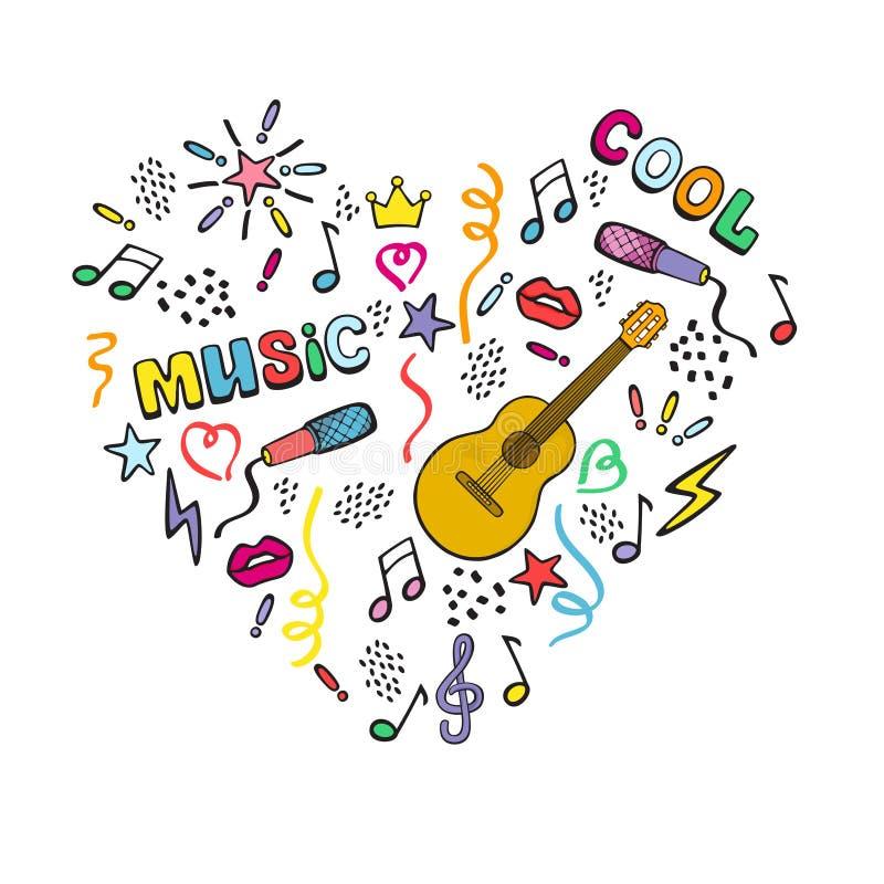 O coração da guitarra, dos sinais musicais e dos símbolos Composi??o decorativa Ilustra??o do vetor da cor ilustração do vetor