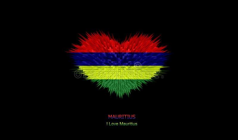 O coração de Mauritius Flag ilustração royalty free