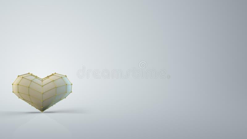 O coração de salto dão forma e a rendição do espaço livre 3D ilustração do vetor