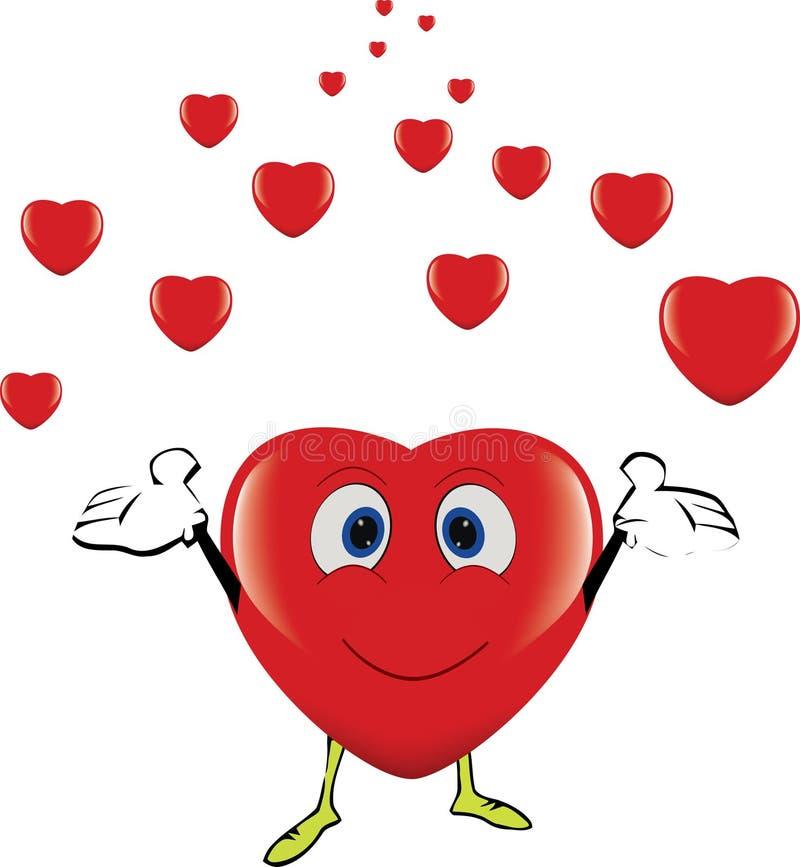 O coração de sorriso completamente da felicidade joga corações pequenos ilustração do vetor