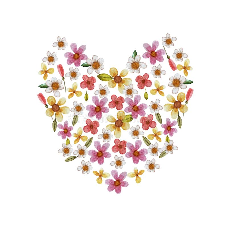 O coração delicado do Valentim dos wildflowers da aquarela isolados em um fundo branco ilustração do vetor