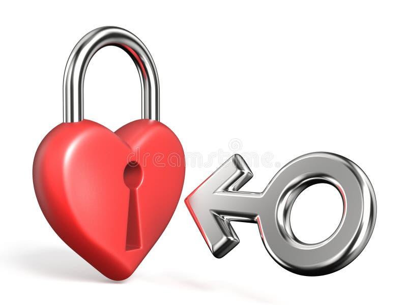 O coração deu forma à ilustração da rendição do sinal 3D do cadeado e do homem ilustração do vetor