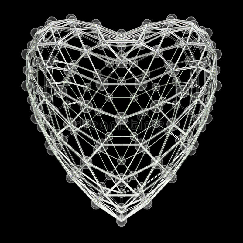 O coração deu forma à molécula 3d feita de bolas plásticas brilhantes coloridas e das hastes de vidro isoladas no preto Conceito  ilustração royalty free