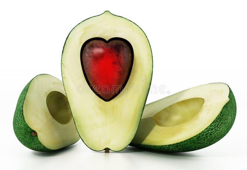 O coração deu forma aos abacates isolados no fundo branco ilustração 3D ilustração do vetor