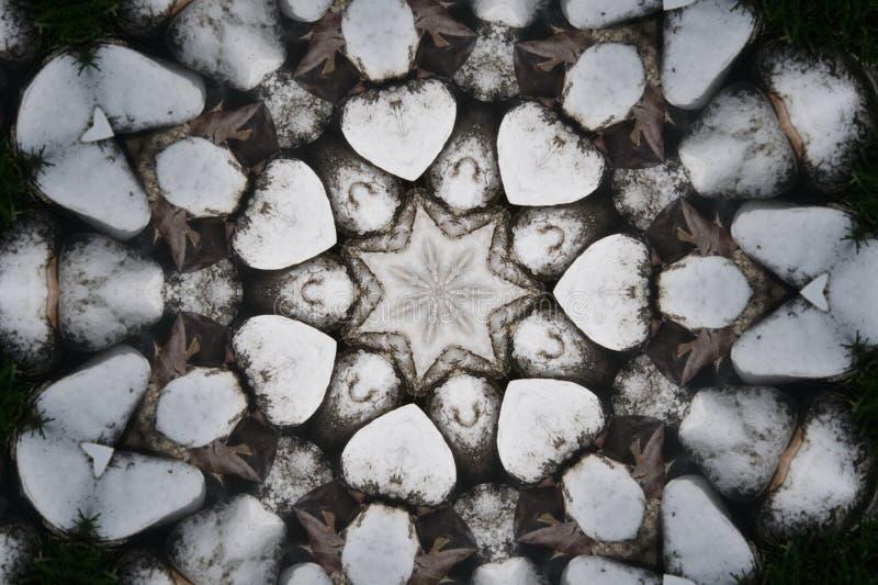 O coração deu forma a testes padrões da repetição com uma estrela no centro ilustração do vetor