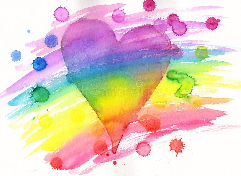 O coração do arco-íris com pintura espirra a pintura da aquarela ilustração do vetor