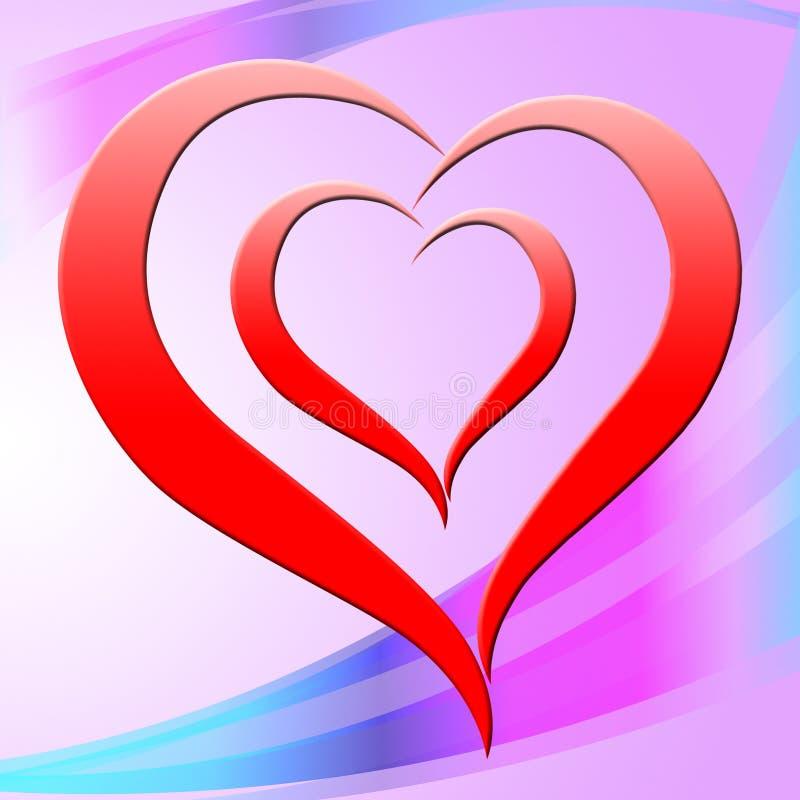 O coração do fundo representa Valentine Day And Affection ilustração royalty free