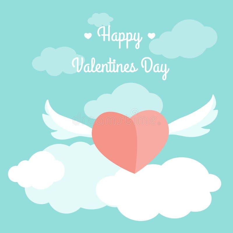 O coração do molde do cartão de Valentine Day voa o texto do céu ilustração do vetor
