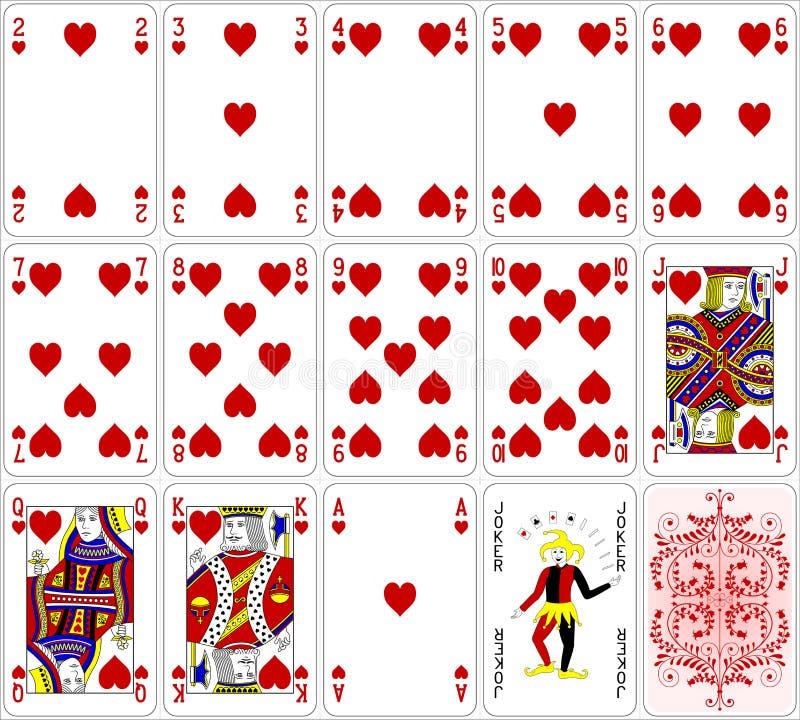 O coração dos cartões do pôquer ajustou um projeto clássico de quatro cores ilustração stock