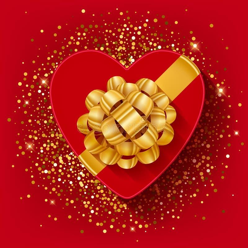 O coração dos Valentim do St deu forma à caixa de presente com fita do ouro ilustração do vetor