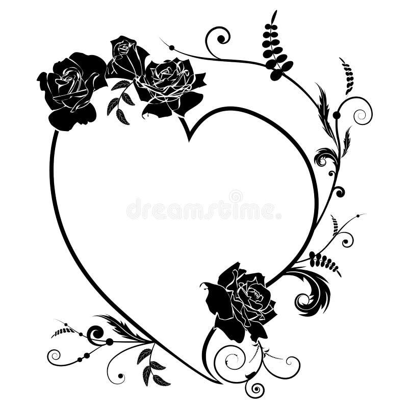 O coração e aumentou, quadro ilustração do vetor