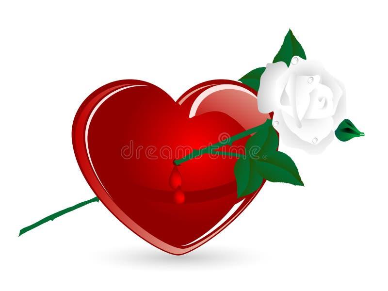 O coração e levantou-se ilustração stock