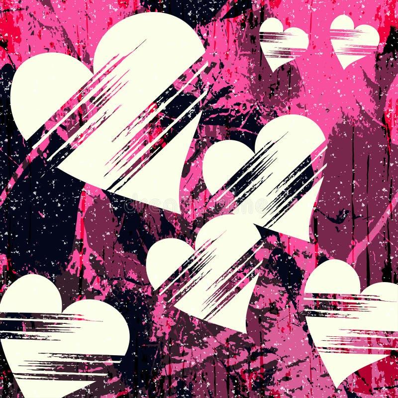 O coração e o grunge brancos texture grafittis abstratos do teste padrão ilustração royalty free