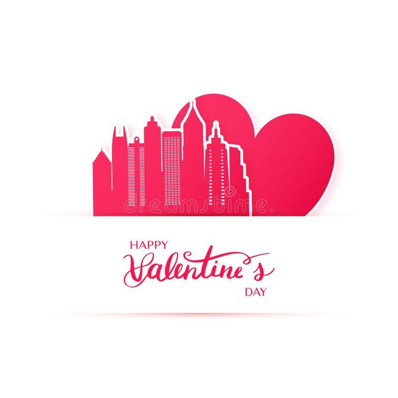 O coração e a silhueta vermelhos da cidade de Atlanta forram etiquetas ilustração royalty free