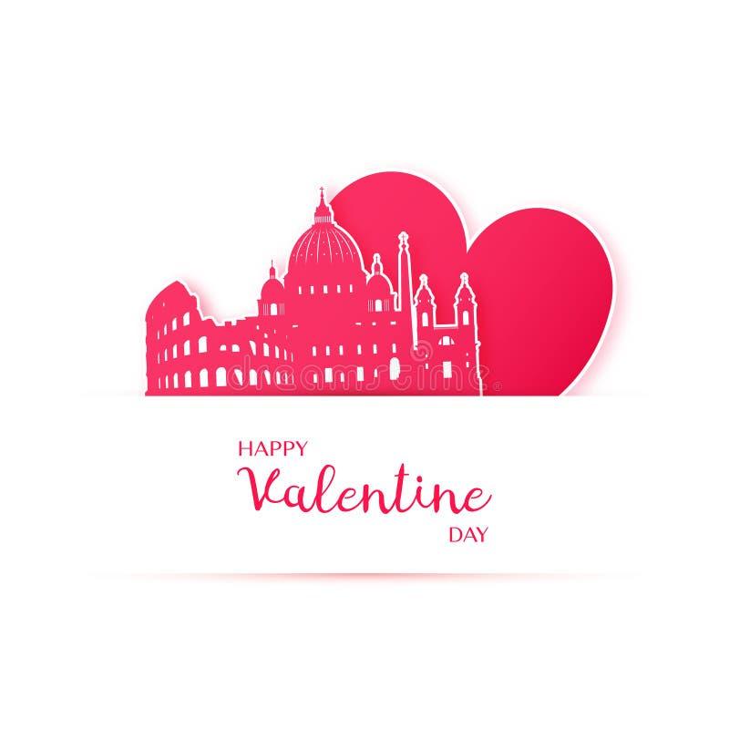 O coração e a silhueta vermelhos da cidade de Roma forram etiquetas ilustração royalty free