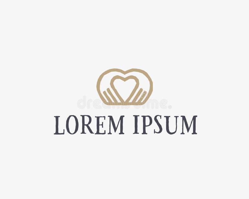 O coração entrega o logotype do vetor Projeto do ícone do logotipo da massagem do salão de beleza dos termas Símbolo médico do si imagem de stock