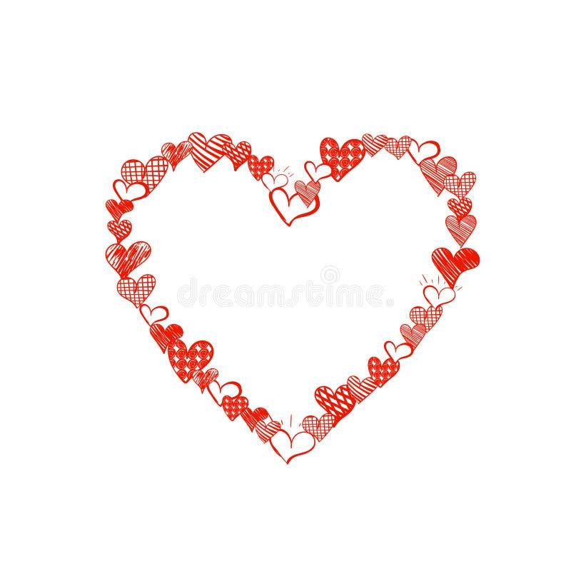 O coração feito de desenhos pequenos do coração, cor vermelha brilhante da garatuja do vetor, ilustração bonito do quadro, molde  ilustração stock