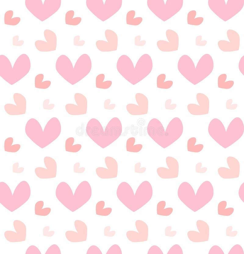 O coração feliz do rosa do conceito do feriado do dia de Valentim dá forma ao teste padrão sem emenda isolado no fundo branco hor ilustração do vetor