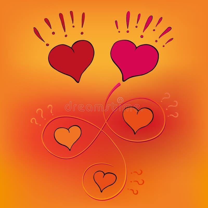 O coração feliz encontra o amor verdadeiro após uma busca longa ilustração royalty free