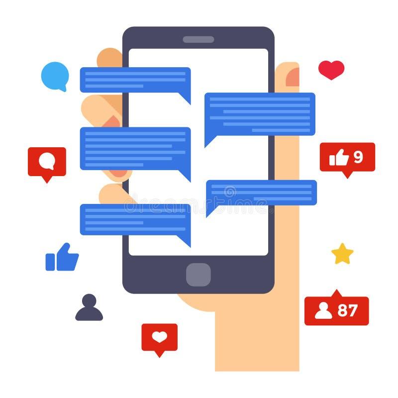 O coração, gosta e comenta Atividades sociais dos meios na tela do smartphone Smartphone da posse da mão Projeto liso criativo ilustração stock