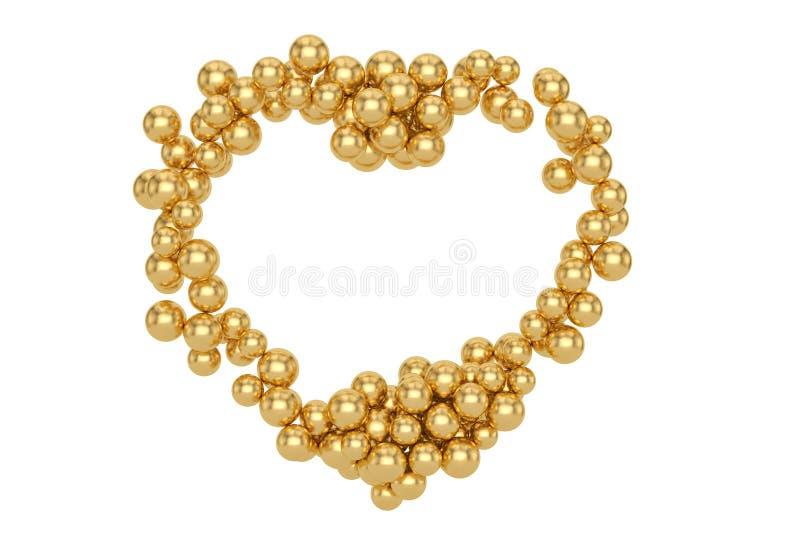 O coração grande fez das bolas douradas pequenas isoladas no fundo branco ilustração 3D ilustração do vetor