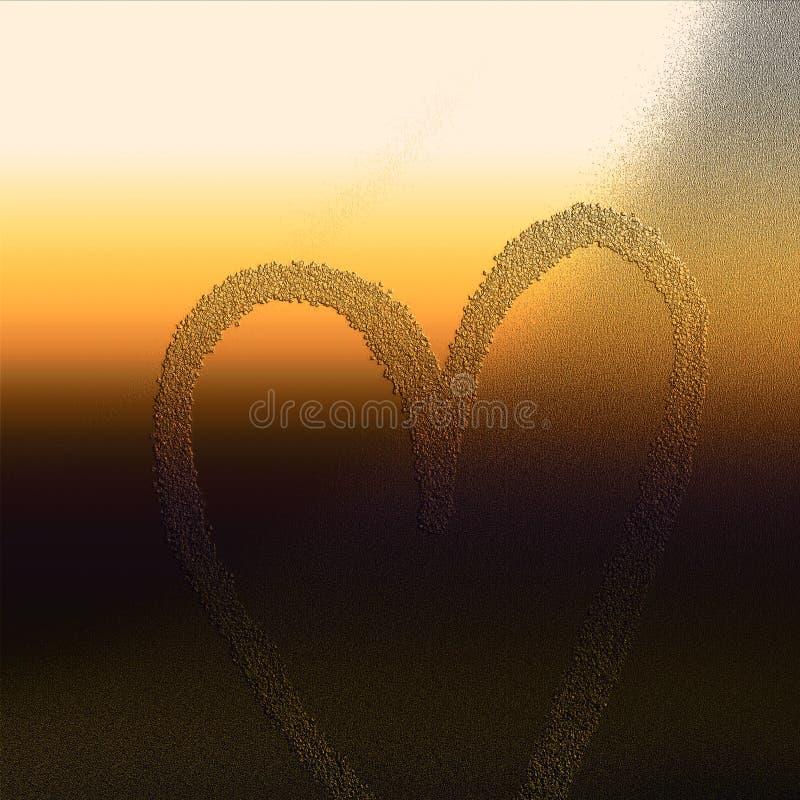 O coração gravou na superfície do grunge Fundo temático do amor ilustração royalty free
