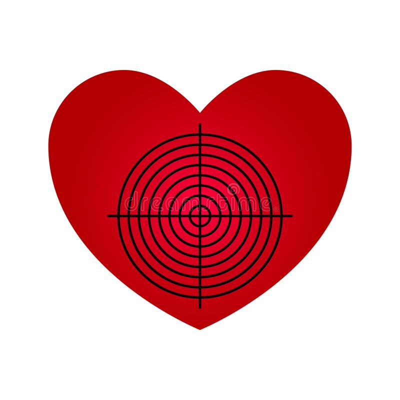 O coração ideal no estilo abstrato no fundo branco Ilustração de espaço vetorial Ilustração do ícone dart de destino Conquista do ilustração royalty free