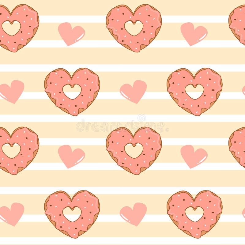 O coração listrado do fundo do teste padrão sem emenda bonito do vetor dos desenhos animados deu forma a anéis de espuma com ilus ilustração royalty free