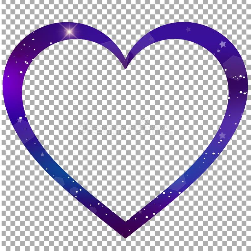 O coração mágico deu forma à beira, clipart do quadro da foto ilustração stock