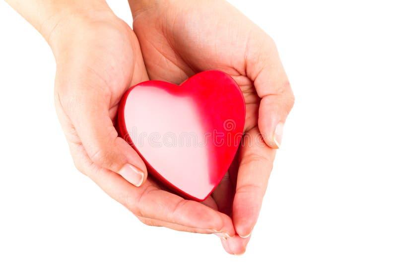 O coração na fêmea cede o branco imagem de stock royalty free