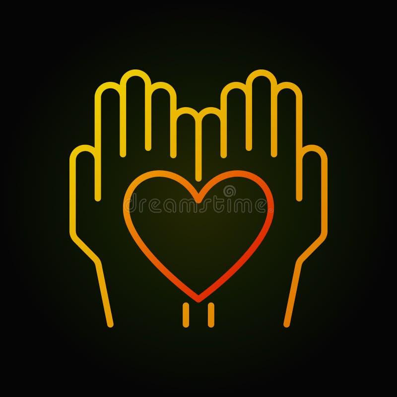 O coração nas mãos vector a linha fina brilhante ícone ilustração royalty free