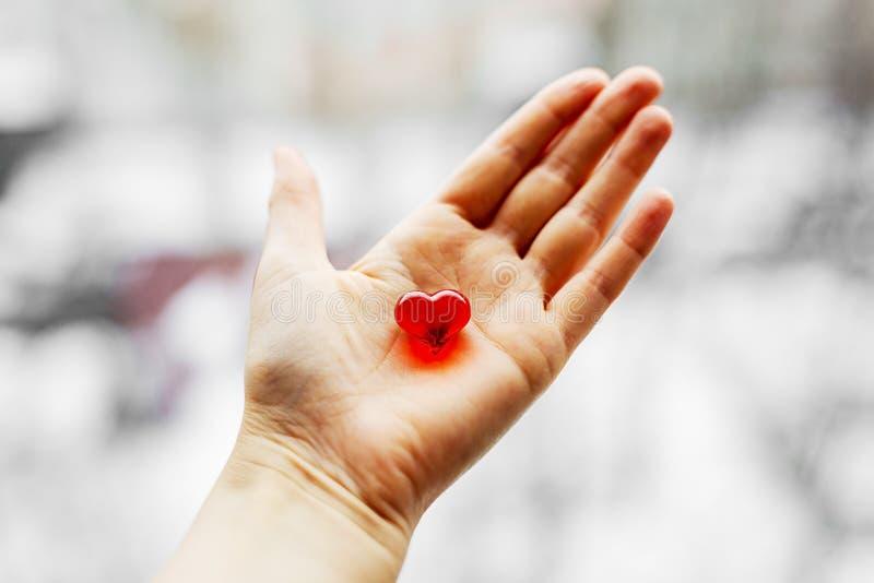 O coração plástico vermelho está em uma mão imagem de stock