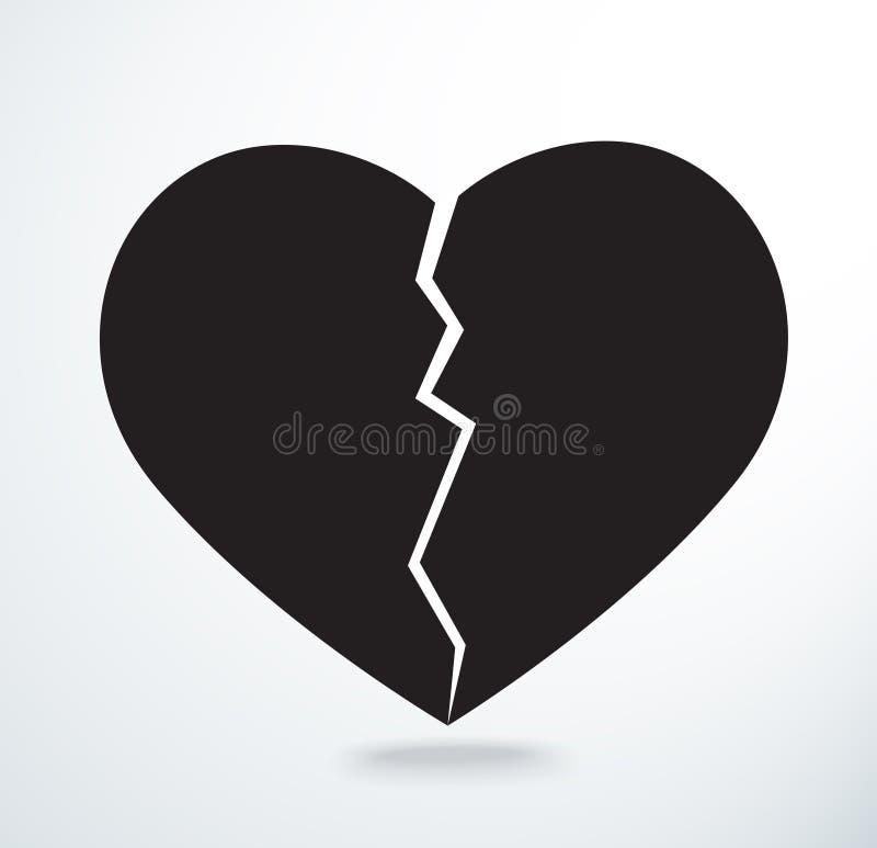 O coração que quebra o vetor do ícone ilustração do vetor