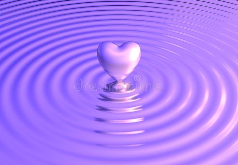 O coração reflete em ondas de água ilustração royalty free