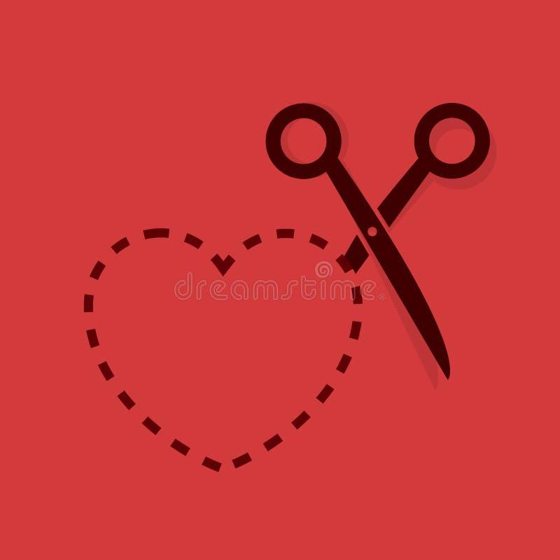 O coração Scissor a linha pontilhada ilustração royalty free