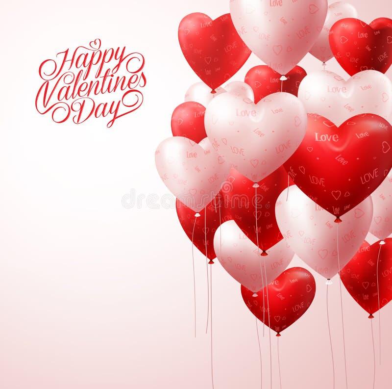 O coração vermelho Balloons o voo na luz para o fundo dos Valentim ilustração do vetor