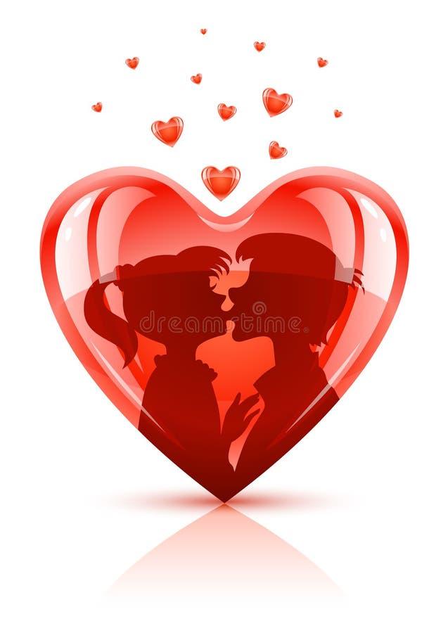 O coração vermelho com adolescentes novos acopla o beijo ilustração do vetor