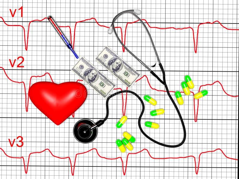 O coração vermelho e um estetoscópio, cardiograma, 3d rendem ilustração stock