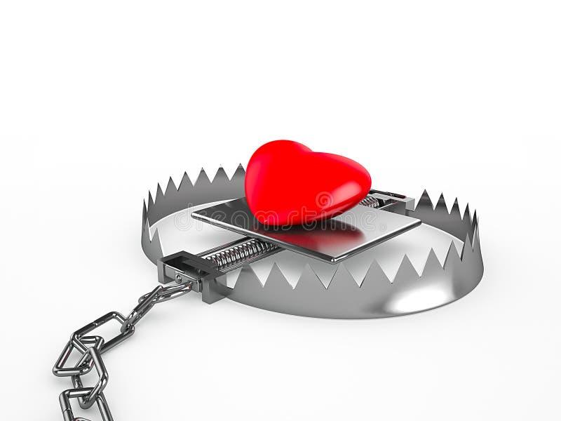 Coração vermelho em uma armadilha, isolada no fundo branco ilustração do vetor